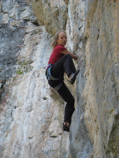 Finishing up the cruxy start of Drive By Shooting.  The climbing stays pumpy & thought-provoking to the last inch.