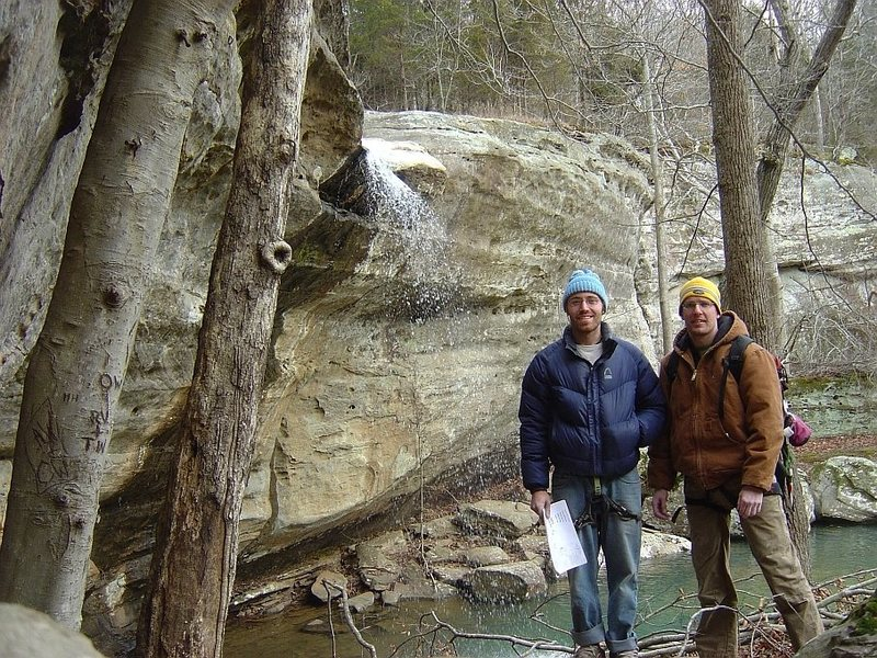 SteveZ and I at Jackson Falls, February 09, a gift of a winter day.  Alas the next day was a blizzard.