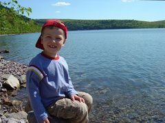 Rock Climbing Photo: The boy at the Lake, May 09.
