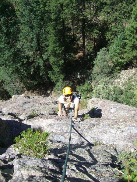 Rock Climbing Photo: Amy on the p2 variation (climber's right) of Chile...