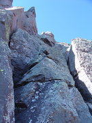Rock Climbing Photo: Looking up the class 5.3 summit pitch.  The crux i...