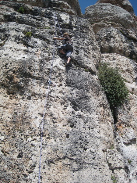 Rock Climbing Photo: Nearing the chains on Outlaws on the Run.