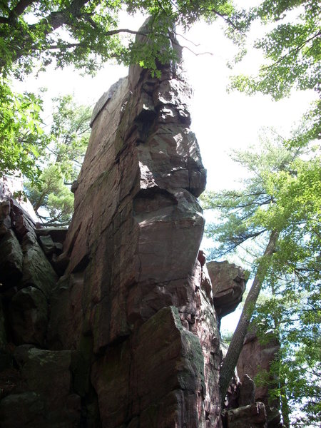 """The Stern"" starts on the left corner, then at 10 ft move right to the right corner and finish in the crack on the south face."
