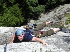 Rock Climbing Photo: JD and I climbing Modern Times. This picture is a ...
