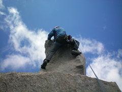 "Rock Climbing Photo: Dave, leading the ""Milk Bottle"" on Starl..."
