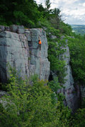 Rock Climbing Photo: Moves on the arete near the top of Pale Rider. Jul...