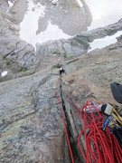 "Rock Climbing Photo: Joe is coming out of the bowels of the ""crux&..."