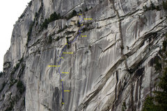 Rock Climbing Photo: The Grand Wall.  The first pitch shown is the Spli...