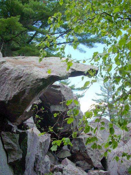 "Severe overhang of the ""Arrow Boulder""."