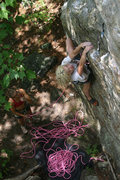 Rock Climbing Photo: Lily starts up with rachet on belay...