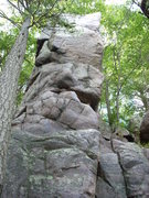 Rock Climbing Photo: Go-Go Tower. The overhanging ledges on the east si...