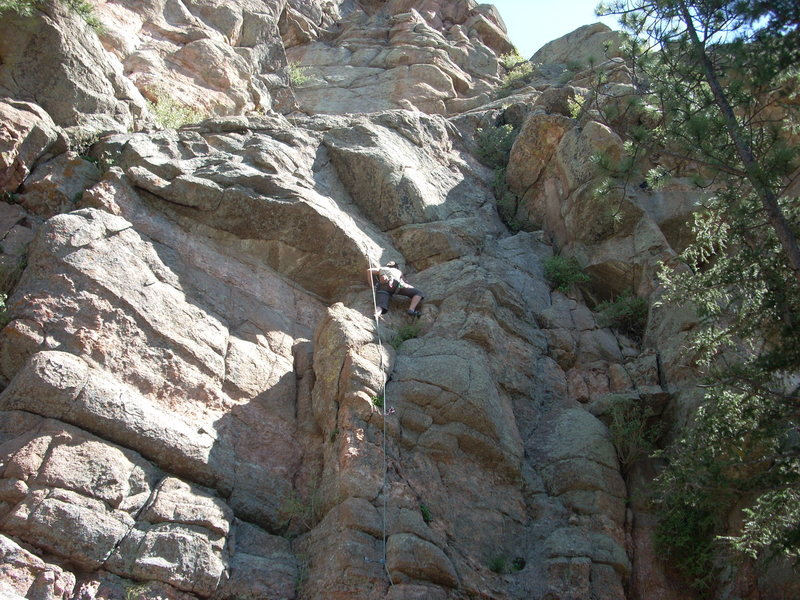 Two moderates at the Springer Gulch wall. The climb I'm on is about 5.9 and the climb to the left is about 5.10-.