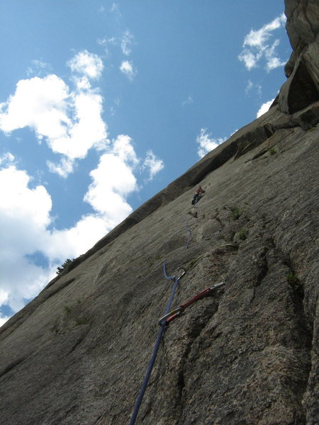 Rock Climbing Photo: Tommy on P1 - all sewn up.