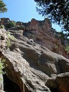 Rock Climbing Photo: This shows the 1st pitch slab, and the main pitch ...