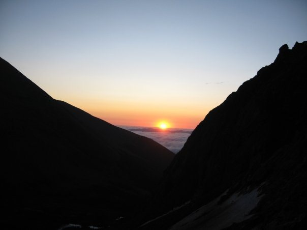 Sunrise from near the top of Broken Hand Pass.