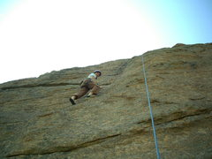 Rock Climbing Photo: Katie climbing up Stout Blue Vein at Jurassic Park...