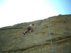 Rock Climbing Photo: Katie climbing up Stout Blue Vein at Jurassic Park...