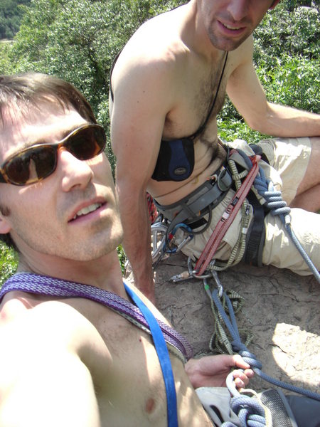 Rock Climbing Photo: Solid anchor for two.  Wish we had sun screen, Aug...