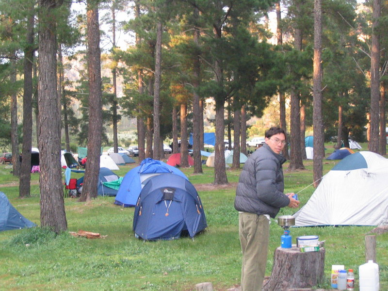 The pines campground, you'll notice that it is on a slope so you always wake up crowding one side or end of your tent, your preference.