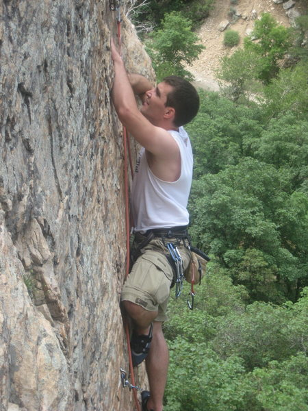just over the crux, going for the anchors
