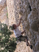 Rock Climbing Photo: Cranking threw the crux