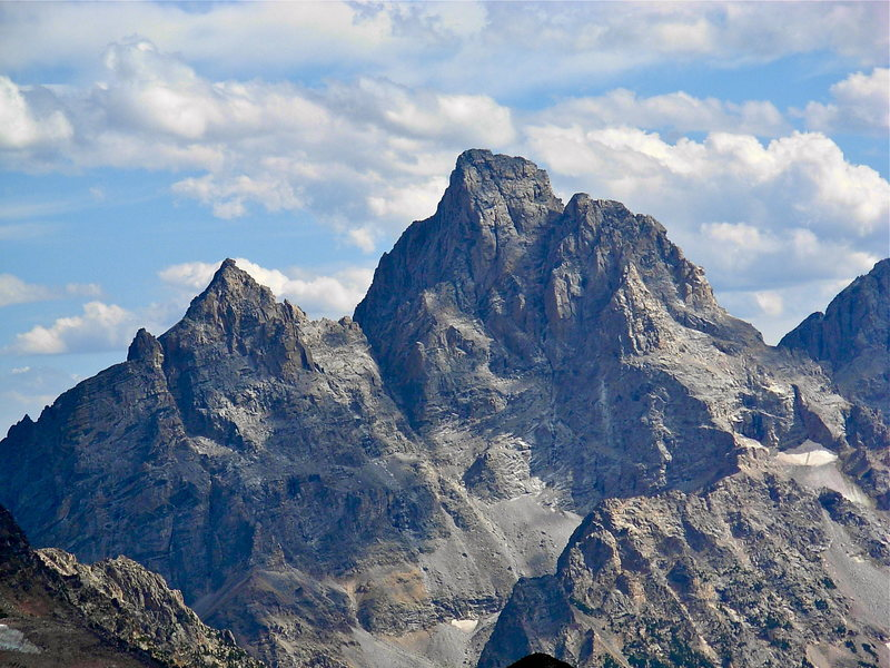 Rock Climbing Photo: Grand Teton and Owen from the northwest, in a very...