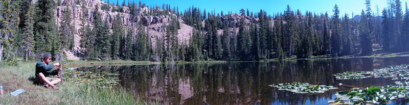 Rock Climbing Photo: Castle Lake. Right end of the wall is visible in t...