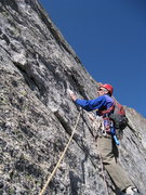 "Rock Climbing Photo: Ross pulls down on the ""jug"" on the crux..."