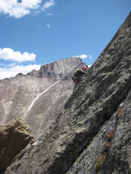 Rock Climbing Photo: Rita, with Longs in the background.  Jim C and her...