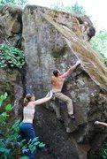 Rock Climbing Photo: Slapping to the arete.