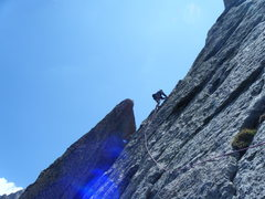 Rock Climbing Photo: Jim leading above the Barb on the North Ridge of S...