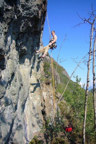 """Rapping off """"Onomatopoeia"""" 5.12a, at The Weekender Wall, Mile Marker 83, Glenn Highway, Alaska."""