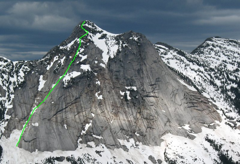Route line of the Southwest Gully as seen from Needle Peak across the valley