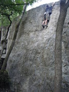 Rock Climbing Photo: JG reaching the lip of Green Slab Center.