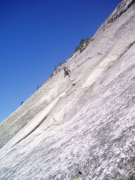 Rock Climbing Photo: Pulling the moves left out of the opening dihedral...