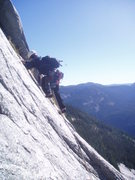 Rock Climbing Photo: Kellie leading the short left-facing corner on pit...
