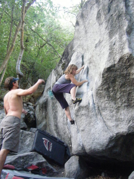 Rock Climbing Photo: Rebecca on the Flake Boulder.