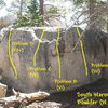 Photo/topo for the South Warm-up Boulder (W. Face) Tramway.