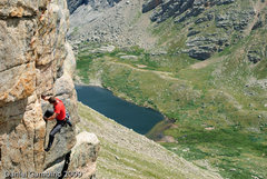 Rock Climbing Photo: Josh's left hand is on the small stance that you s...