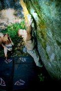 Rock Climbing Photo: Working the crux move.