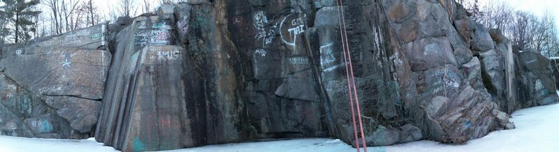 A close-up of the bigger quarry while standing in the middle of it (still on belay of course)