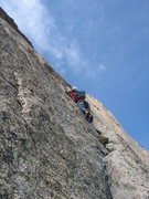 Rock Climbing Photo: Tommy about to polish off our brief version of P1 ...