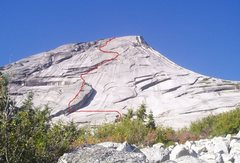 Rock Climbing Photo: TOPO: Red line shows the line of Yak Check as seen...