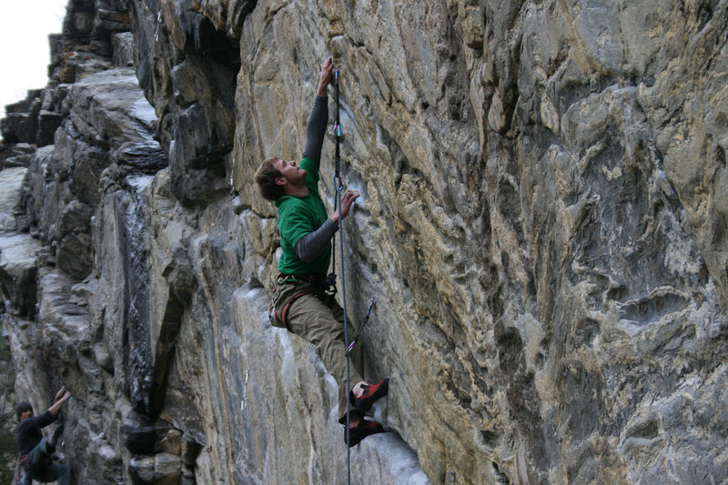 Sticking the crux cross.