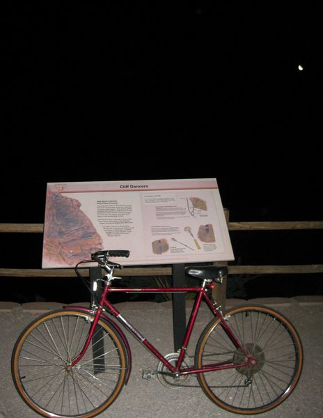 Riding in the Red Rock loop to watch the meteor showers at midnight Wed. night. What a show!<br> <br> To get a better work-out I opted to ride a vintage $10.00 bike (it's actually worth less) I picked it up at a garage sale several months ago. (I wanted a bike I wouldn't miss if it got stolen) The lady said it's a ten speed but I swear it's a one, okay, maybe a 1.5 speed. It flies down hill, but vibrates violently when I put on the brakes. Sometimes you actually do get what you pay for. Fun ride, equipped with lots of clanking; it's music to my ears. : )<br> <br>