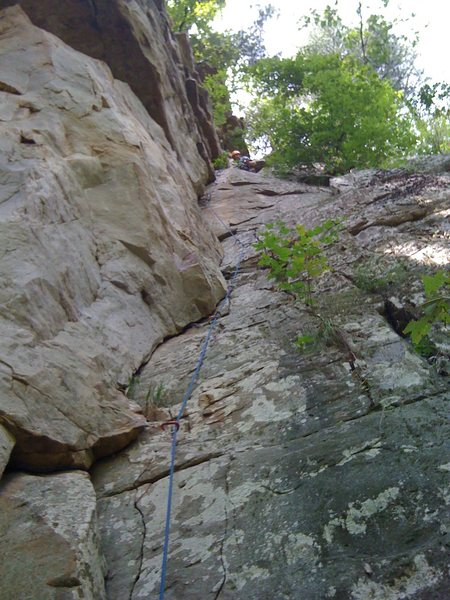 Rock Climbing Photo: At the belay ledge.  Setting an anchor is easy wit...