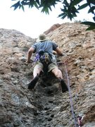 Rock Climbing Photo: Banks sportin' the best in soft helmet attire whil...