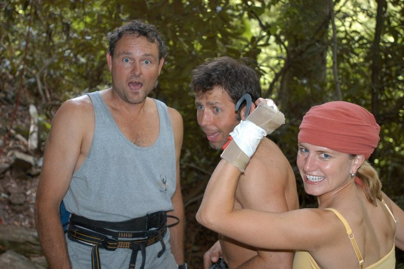 Craig, Kris Hampton, Sarah after 1st ascent of one-armed bandit.  Due to injury, only one arm could really be used to climb.