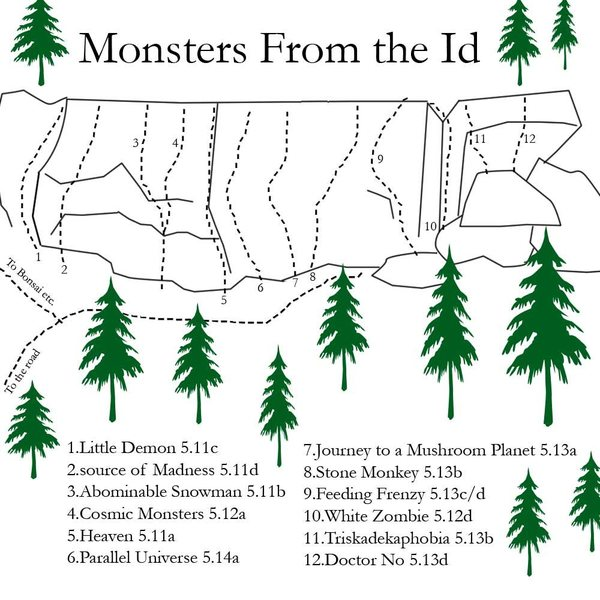 Monsters map... i left out Boogie Man 5.13b cause it was hard to fit (between routes 5 and 6) and the link ups; Monsters Crossing 5.10c, Heavenly Monsters 5.11b, No Shit 5.13b/c and Steady Slobbin 5.14b... enjoy...