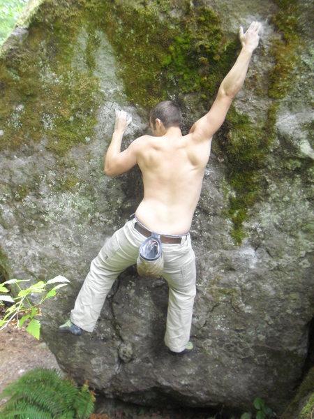 Rock Climbing Photo: Sticking the crux move.